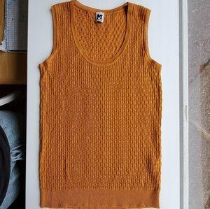 Mustard yellow missoni textured knit tank top